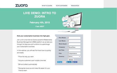 Screenshot of Landing Page zuora.com - Live Demo January 4th | Zuora - captured Sept. 21, 2016