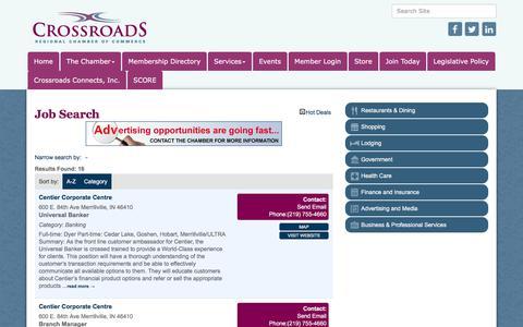 Screenshot of Jobs Page crossroadschamber.org - Job Search - Crossroads Regional Chamber of Commerce,IN - captured Sept. 15, 2017