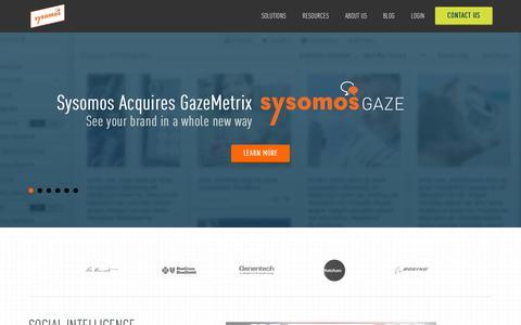 Screenshot of Home Page sysomos.com - Sysomos: Social Media Monitoring Tools - captured Oct. 1, 2015