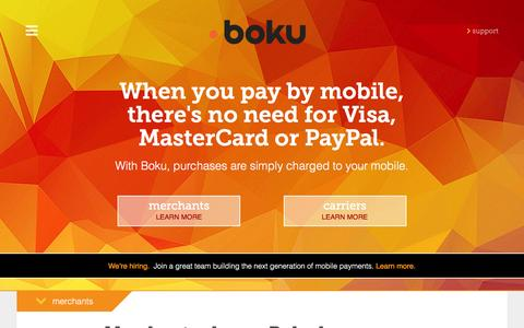 Screenshot of Home Page boku.com - BOKU | Pay by Mobile – Easy, Safe Mobile Payments for merchants and publishers - captured Dec. 2, 2015
