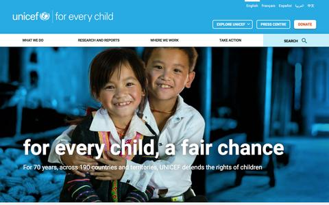 Screenshot of Home Page unicef.org - Home | UNICEF - captured Dec. 9, 2016