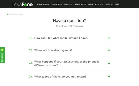 Screenshot of FAQ Page lovefone.co.uk - Sell your iPhone - Lovefone, London - captured Feb. 14, 2018