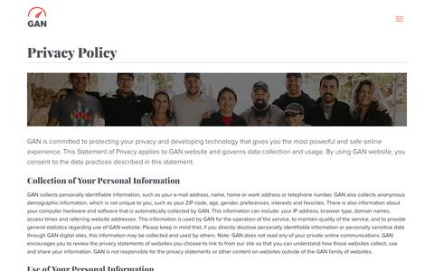 Screenshot of Privacy Page gan.co - Privacy Policy - Global Accelerator Network - captured Aug. 7, 2017