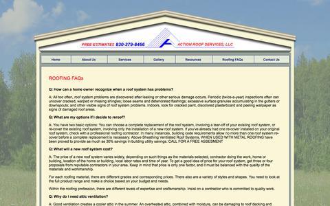Screenshot of FAQ Page actionroofservices.com - A Action Roof Services Seguin Texas New Braunfels Schertz TX Shingles Flashings Attic Ventilation - captured Feb. 4, 2016