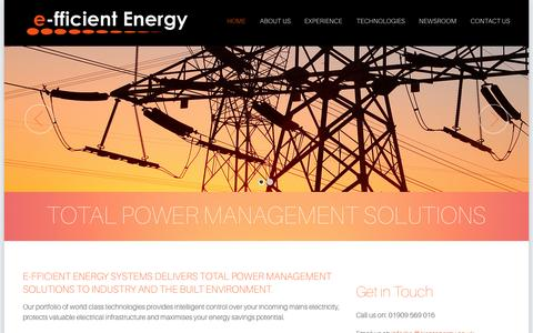 Screenshot of Home Page e-fficientenergy.co.uk - Power management solutions | Voltage optimisation | Yorkshire |E-fficient Energy - captured Sept. 17, 2015