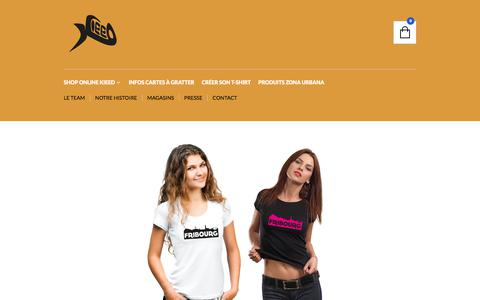 Screenshot of Home Page kieed.ch - Kieed T-Shirts | Expressions typiquement fribourgeoises ! - captured Sept. 20, 2018