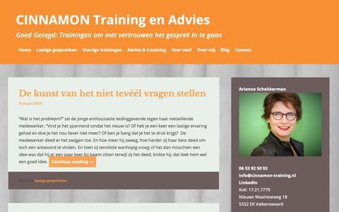 Screenshot of Blog cinnamon-training.nl - Blog - CINNAMON Training en Advies - captured Sept. 28, 2018