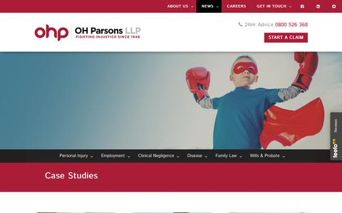 Screenshot of Case Studies Page ohparsons.co.uk - Learn More About How We Work & How We Win | OH Parsons LLP, Slough - captured Oct. 20, 2018