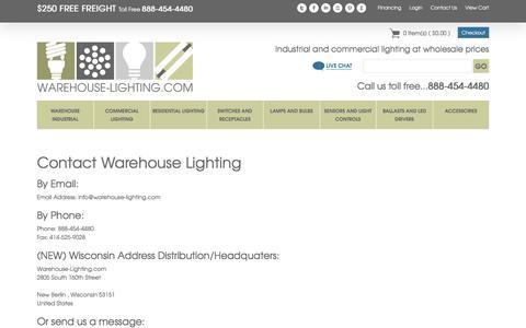Screenshot of Contact Page warehouse-lighting.com - Contact Us - captured June 22, 2017