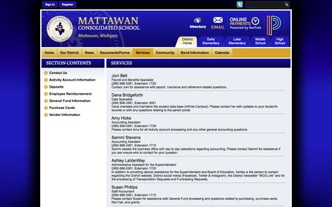 Screenshot of Services Page mattawanschools.org - Business Services / Contact Us - captured Oct. 17, 2017