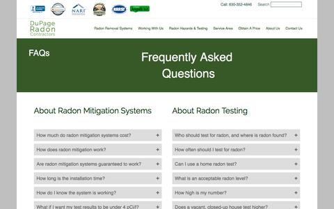 Screenshot of FAQ Page dupageradon.com - Radon Mitigation FAQs | DuPage Radon Contractors - captured Oct. 13, 2017