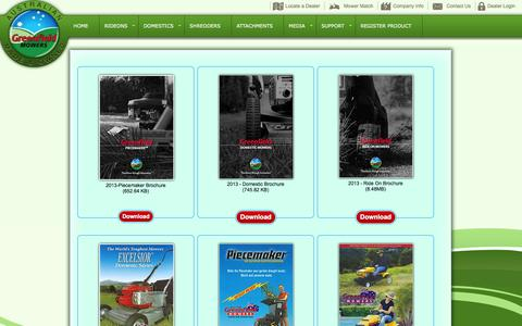 Screenshot of Support Page greenfield.com.au - Greenfield Mowers Australia Pty Ltd | Brochures - captured Oct. 3, 2014