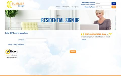 Screenshot of Signup Page summerenergy.com - ZIP Code - captured Oct. 1, 2014