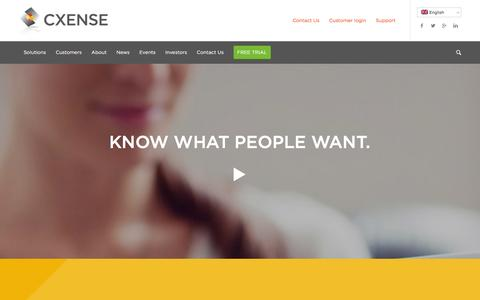 Screenshot of Home Page cxense.com - Data management and personalization online - Cxense - captured Jan. 14, 2016