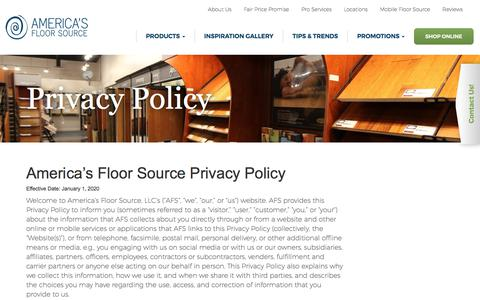 Screenshot of Privacy Page americasfloorsource.com - Privacy Policy - America's Floor Source - captured Jan. 10, 2020