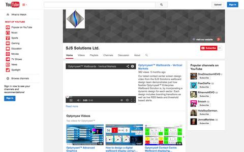 Screenshot of YouTube Page youtube.com - SJS Solutions Ltd.  - YouTube - captured Oct. 23, 2014