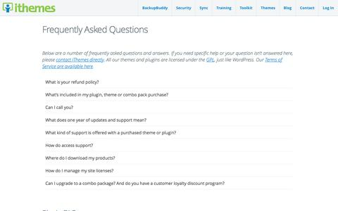 Screenshot of FAQ Page ithemes.com - Frequently Asked Questions - captured June 8, 2017