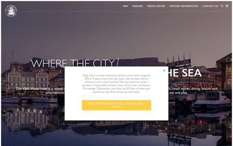 Screenshot of Home Page waterfront.co.za - V&A Waterfront – Where the city meets the sea - captured Sept. 22, 2018