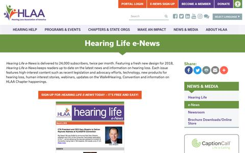 Screenshot of Signup Page hearingloss.org - Hearing Life e-News - Hearing Loss Association of America - captured Sept. 22, 2018