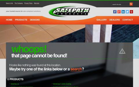 Screenshot of Maps & Directions Page safepathproducts.com - Page Not Found - Safe Path Products - captured Oct. 1, 2014