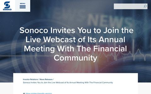 Screenshot of Press Page sonoco.com - Sonoco Invites You to Join the Live Webcast of Its Annual Meeting With The Financial Community | Sonoco - captured Nov. 5, 2019