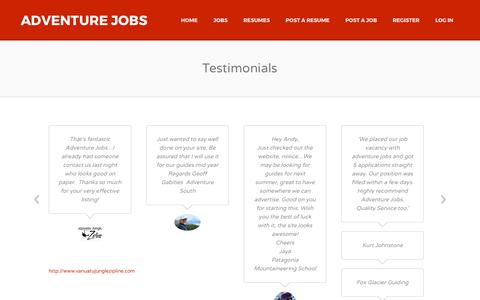 Screenshot of Testimonials Page adventurejobs.co.nz - Testimonials | Adventure Jobs - captured Oct. 7, 2017