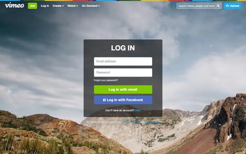 Screenshot of Login Page vimeo.com - Log in to Vimeo - captured Jan. 11, 2016