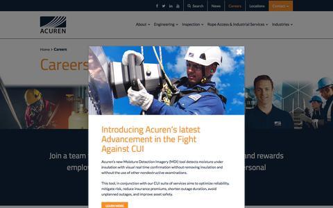 Screenshot of Jobs Page acuren.com - Careers - Acuren - captured July 29, 2018