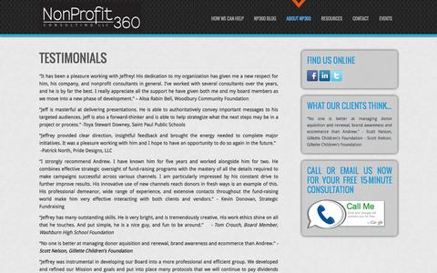Screenshot of Testimonials Page np360.org - Testimonials - Nonprofit-360 Consulting, LLC - captured Oct. 7, 2014