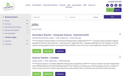 Screenshot of Jobs Page astarteachers.co.uk - Teaching Jobs in London - A Star Teachers - captured July 21, 2018
