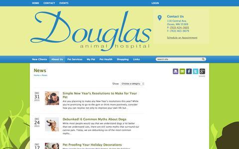 Screenshot of Press Page douglasanimalhospital.com - News   Douglas Animal Hospital Osseo, Minnesota - captured Jan. 7, 2016