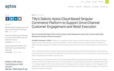 Screenshot of Support Page aptos.com - Tilly's Selects Aptos Cloud-Based Singular Commerce Platform to Support Omni-Channel Customer Engagement and Retail Execution - Aptos - captured Feb. 20, 2020