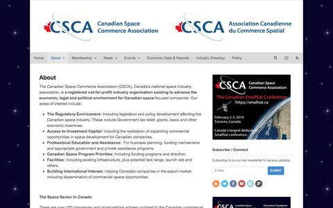 Screenshot of About Page spacecommerce.ca - About | The Canadian Space Commerce Association - captured Jan. 25, 2016