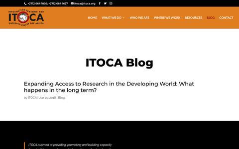 Screenshot of Blog itoca.org - Itoca Blog - ITOCA - Education & Research - captured July 26, 2018