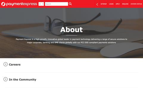 Screenshot of About Page paymentexpress.com - Payment Express | About | EFTPOS | Payment Gateway | Online Credit & Debit Card Processing - captured July 7, 2019