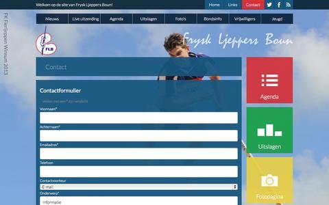 Screenshot of Contact Page fierljeppenfriesland.nl - Frysk Ljeppers Boun - captured Oct. 6, 2014