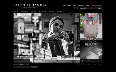 Screenshot of Home Page belenechandia.com - Leather Bags, Leather Handbags, Custom Bags - captured Sept. 30, 2014