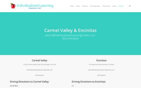 Screenshot of Contact Page individualizedlearningcenter.com - Contact - Individualized Learning Center - captured Nov. 3, 2016