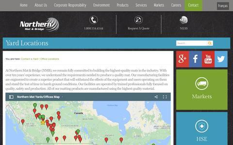 Screenshot of Locations Page northernmat.ca - Northern Mat & Bridge Yard & Office Locations - captured Dec. 10, 2016