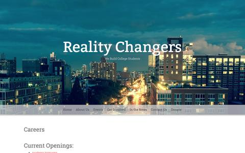 Screenshot of Jobs Page realitychangers.org - Careers | Reality Changers - captured Aug. 12, 2015