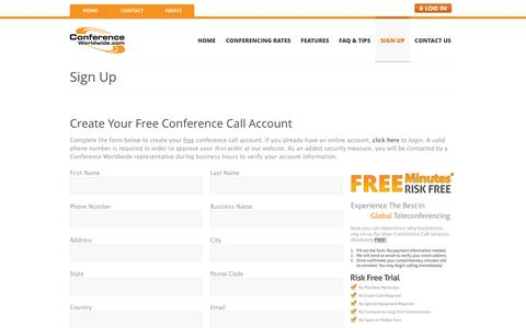 Screenshot of Signup Page conferenceworldwide.com - Free Conference Call Sign Up - captured Oct. 3, 2014