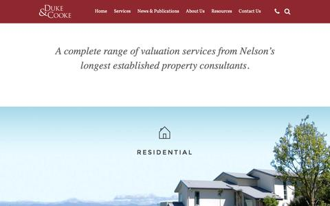 Screenshot of Services Page valuersnelson.co.nz - Services - Duke & Cooke Valuers - Nelson, New Zealand - captured Feb. 9, 2016
