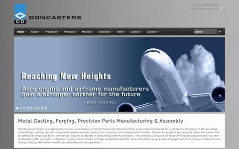 Screenshot of Home Page doncasters.com - Metal Casting, Forging, Precision Parts Manufacture & Assembly | Doncasters Group - captured Oct. 5, 2014