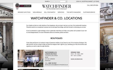 Screenshot of Contact Page Locations Page watchfinder.co.uk - Watchfinder & Co. Locations | Pre Owned Watches - captured Feb. 21, 2016