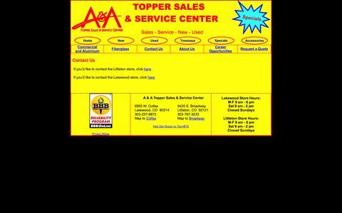 Screenshot of Contact Page aatoppers.com - A A Toppers Contact Us Truck Accessories Truck Campers Campers Shells Truck Toppers Denver Lakewood Aurora Colorado Kansas Nebraska Wyoming - captured Oct. 3, 2014