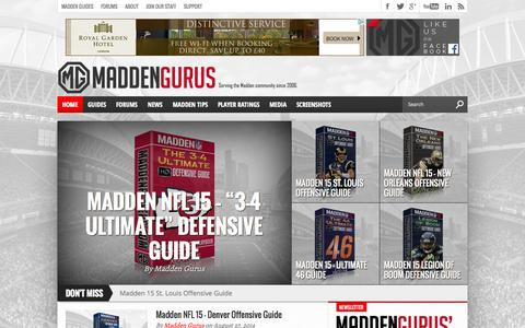 Screenshot of Home Page maddengurus.com - Madden 15 Tips, Cheats, Hints, Strategy, Guides | Madden  Gurus - captured Sept. 30, 2014