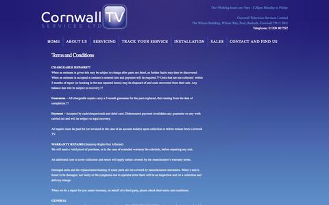 Screenshot of Terms Page cornwalltv.co - Terms and conditions | Cornwall TV | The South West Specialists in Television and Audio repairs - captured Oct. 1, 2014