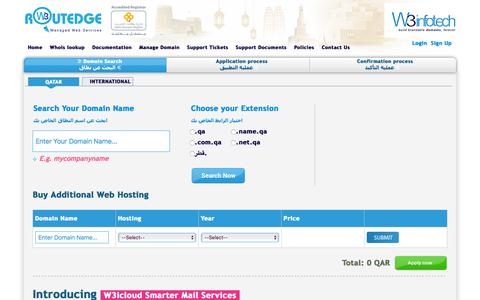 Screenshot of Home Page w3.domains - Domain Name Registration Qatar, .qa and .قطر Web Hosting Qatar - captured July 11, 2018