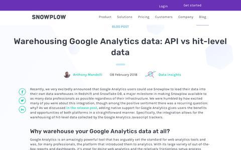 Screenshot of Developers Page snowplowanalytics.com - Warehousing Google Analytics data: API vs hit-level data - captured Feb. 10, 2020
