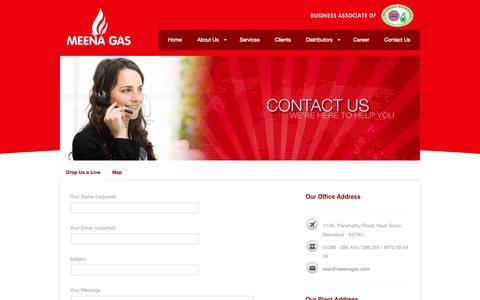 Screenshot of Contact Page meenagas.com - Contact | Meena Gas - captured Oct. 27, 2014